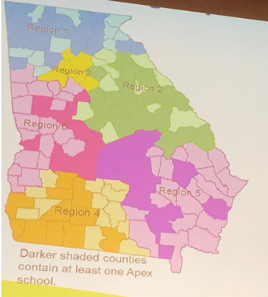 Georgia's Apex Program was in 396 schools in 87 counties throughout the state as of June 2018. The program started in 2015.