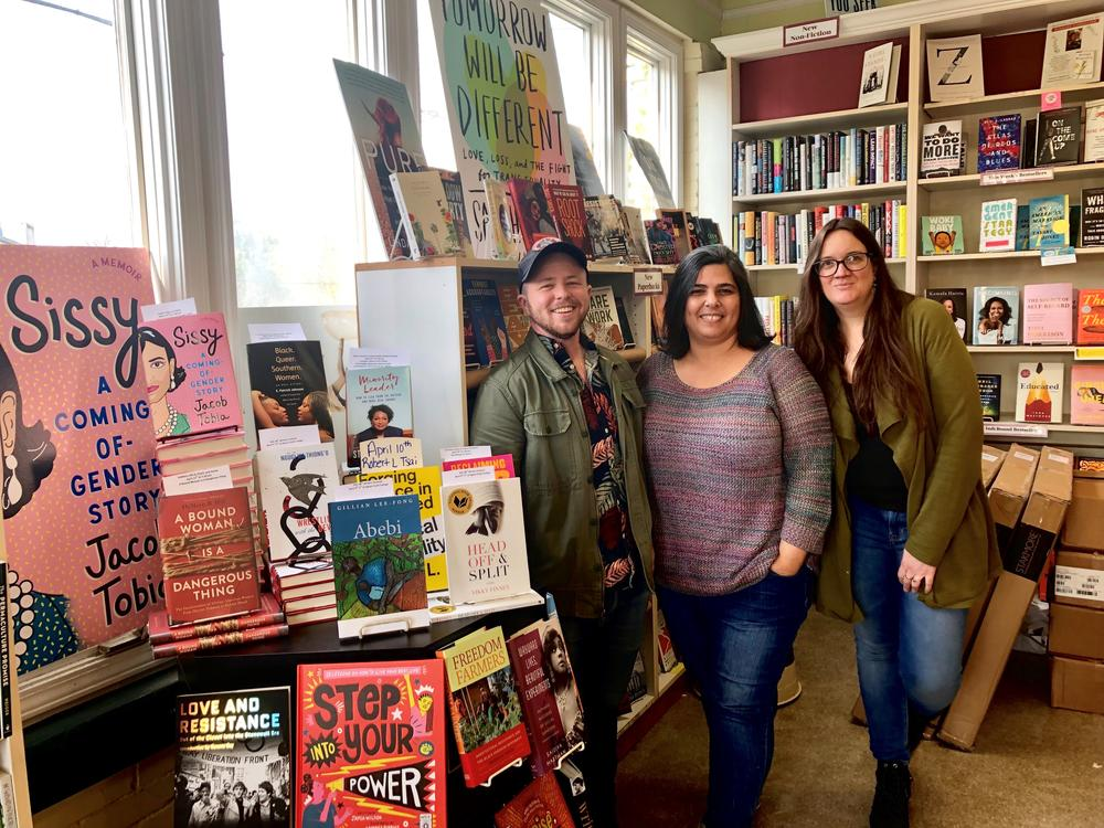 E.R. Anderson is the executive director of Charis Circle, the nonprofit associated with Atlanta feminist bookstore Charis Books. Anderson is pictured with colleagues Sara Luce Look and Angela Gabriel.