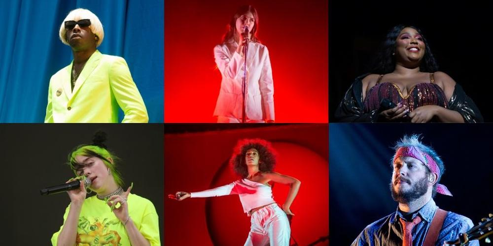 Clockwise from Top Left: Tyler, the Creator; Natalie Mering of Weyes Blood; Lizzo; Justin Vernon of Bon Iver; Solange; Billie Eilish.
