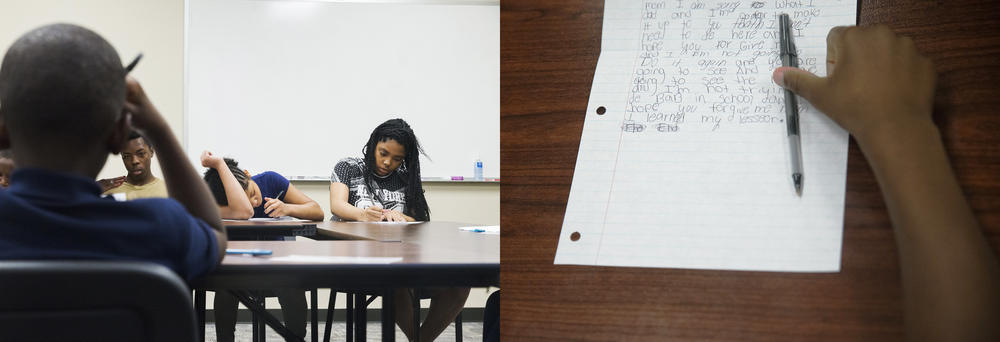 After their jail tour, program participants are made to write apologetic essays they will later read aloud to the adults who brought them to the program.