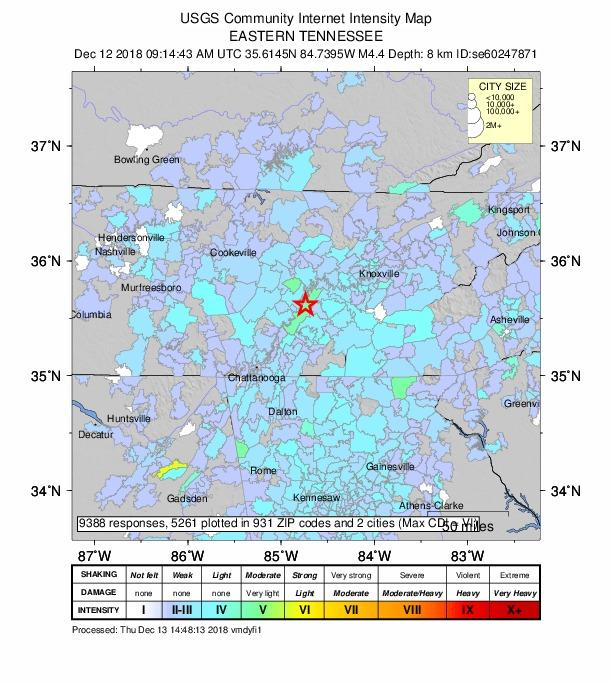 Tremors from Wednesday's earthquake near Decatur, Tennessee, could be felt as far south as Lagrange, Georgia.