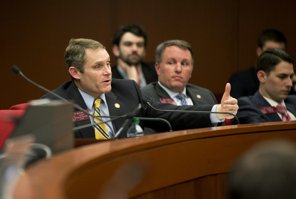 State Rep. Ed Setzler, R-Acworth, asks questions during a committe hearing at the Georgia State Capitol in Atlanta.