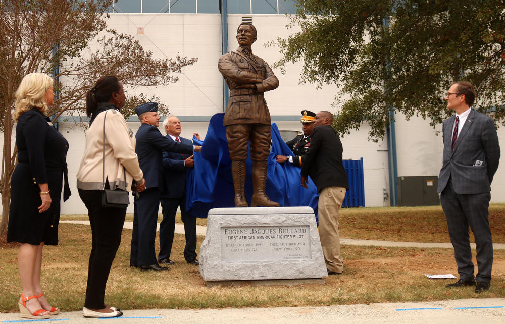 The Eugene Bullard statue at Warner Robbins Air Force Base, he was the world's first African American fighter pilot.