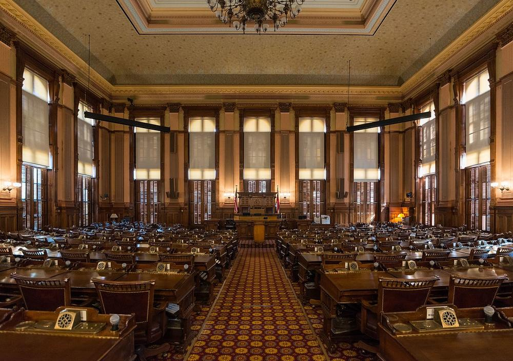 The interior of the Georgia House Chambers at the Georgia State Capitol in Atlanta.