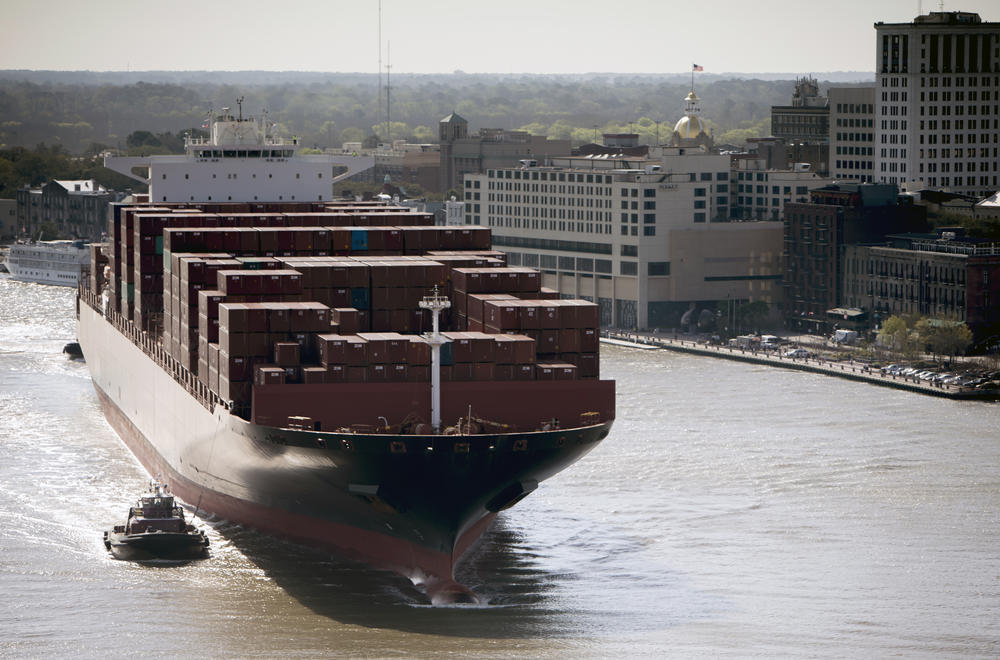 The Zim Tianjin sails past downtown Savannah on its way to the Port of Savannah Garden City Terminal in March 2015. At 1,145 ft. long, it was the largest ship ever to call at the port.