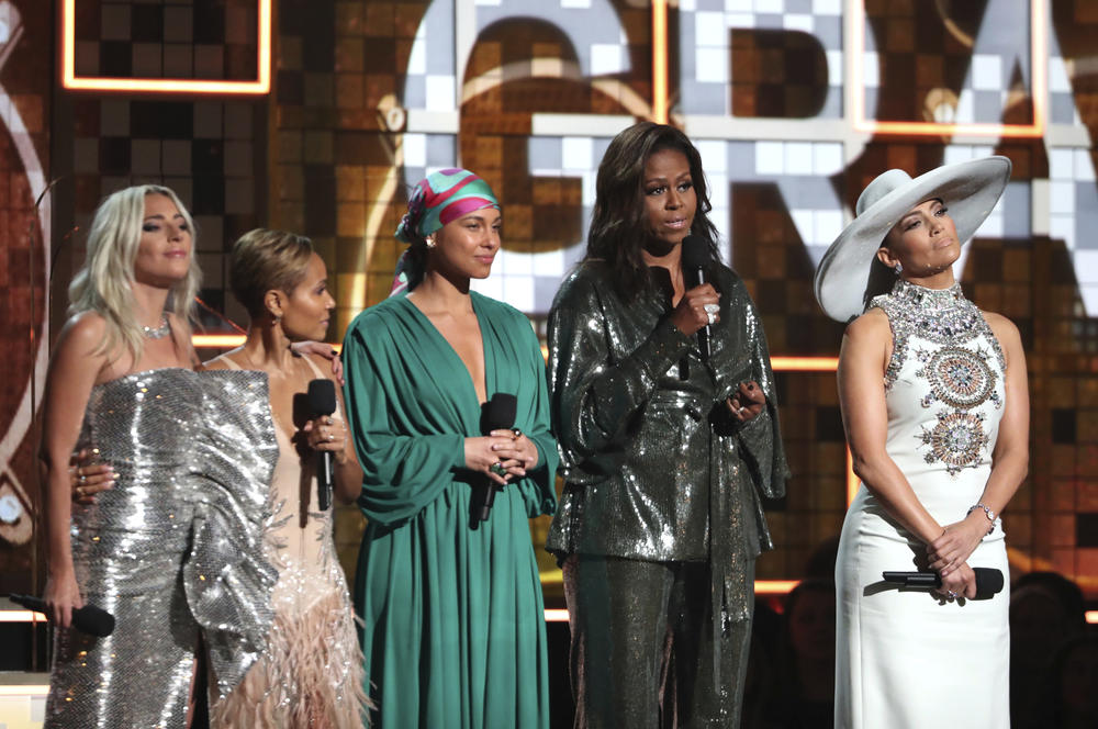(L to R) Lady Gaga, Jada Pinkett Smith, Alicia Keys, Michelle Obama and Jennifer Lopez speak onstage during the 61st Annual Grammy Awards