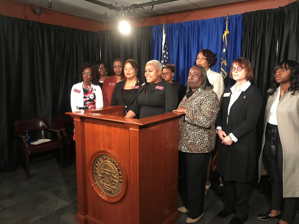 Georgia House Democrats hold a press conference to speak out against Senate Bill 77, which would give added protections to Confederate monuments.