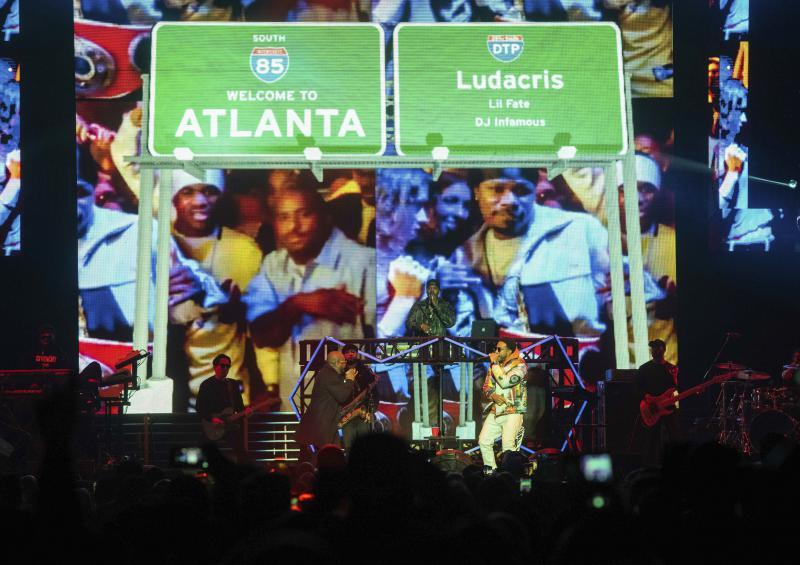 Jermaine Dupri, left, and Ludacris perform onstage at the Bud Light Super Bowl Music Fest at the State Farm Arena on Jan. 31, 2019 in Atlanta.