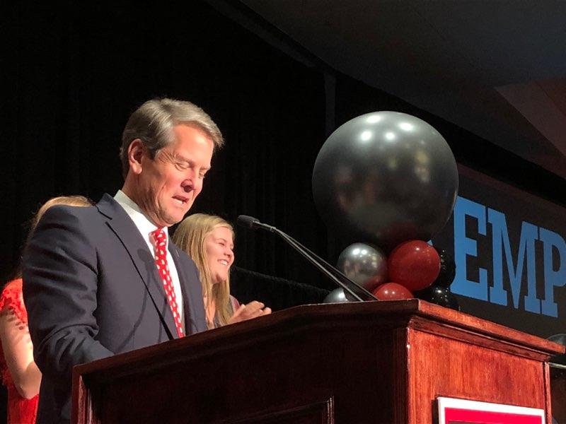 Brian Kemp speaks to supporters at an election night watch party in Athens.