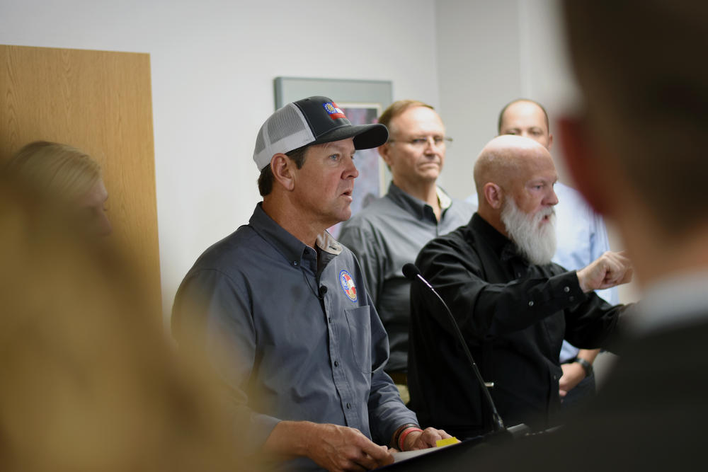 Gov. Brian Kemp discusses evacuations and emergency plans for Hurricane Dorian during a news conference Monday, Sept. 2, 2019, in Atlanta.