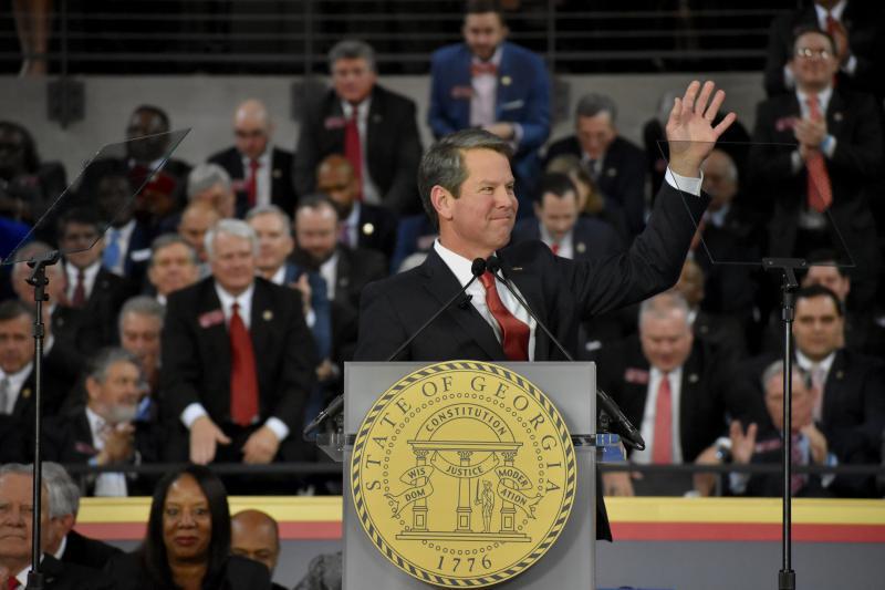 Republican Brian Kemp is sworn in as Georgia's 83rd Governor Monday, Jan. 14 at Georgia Tech's McCamish Pavilion.