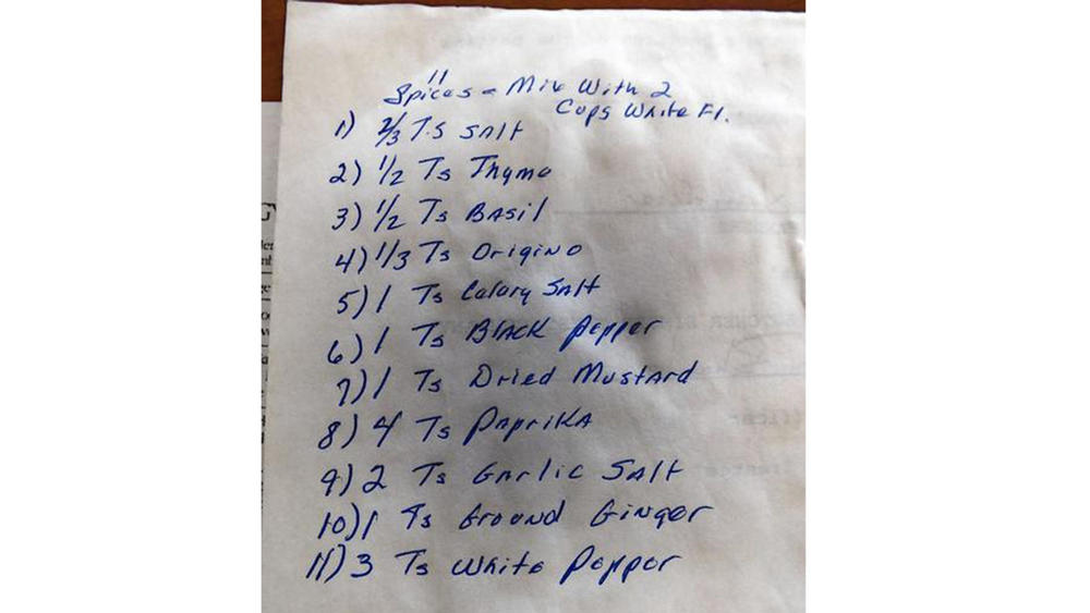 The handwritten list of 11 herbs and spices, jotted down on the back of a document Joe Ledington described as the will for Claudia Sanders, the Colonel's second wife.