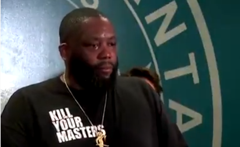 Atlanta-based rapper and activist Michael Render, who is known as Killer Mike, speaks alongside Mayor Keisha Lance Bottoms and police Chief Erika Shields Friday, May 29, 2020.