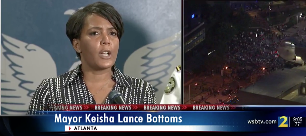 Atlanta Mayor Keisha Lance Bottoms speaks out against destructive protests in the city of Atlanta Friday, May 29, 2020.