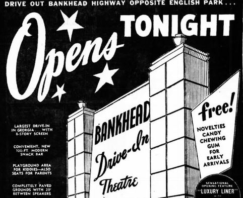 A 1950 Advertisement for the Bankhead drive-in theater.