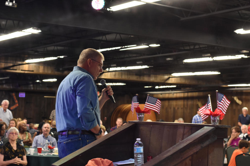 U.S. House Rep. Barry Loudermilk (R-Ga.) speaks to the crowd at the 11th District GOP's Fifth Annual Marksmanship Event and Barbecue.