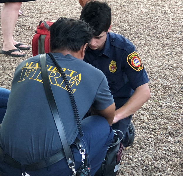 Marietta fire officials respond to an emergency call. All fire and police carry Narcan, which counteracts an opioid overdose.