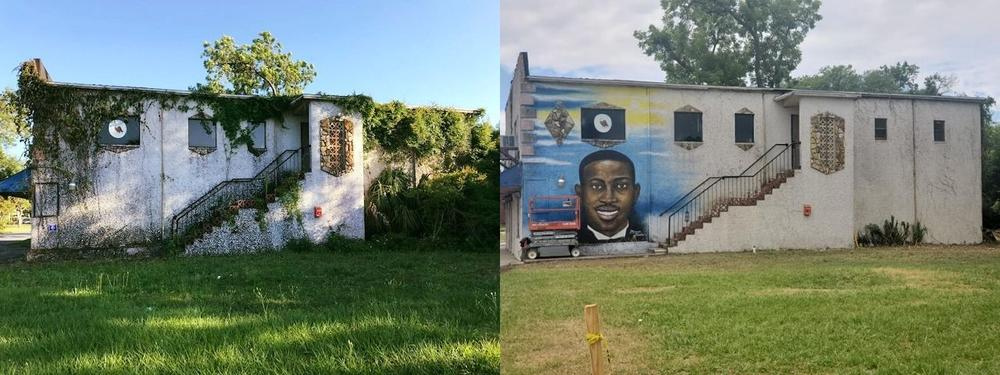 Volunteers cleaned up the building and future site of the Brunswick African-American Cultural Center, now home to a mural of Ahmaud Arbery