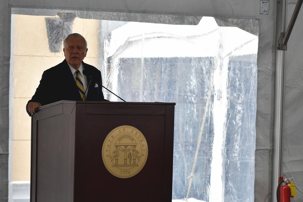 Former Gov. Nathan Deal speaks at the dedication of the Nathan Deal Judicial Center