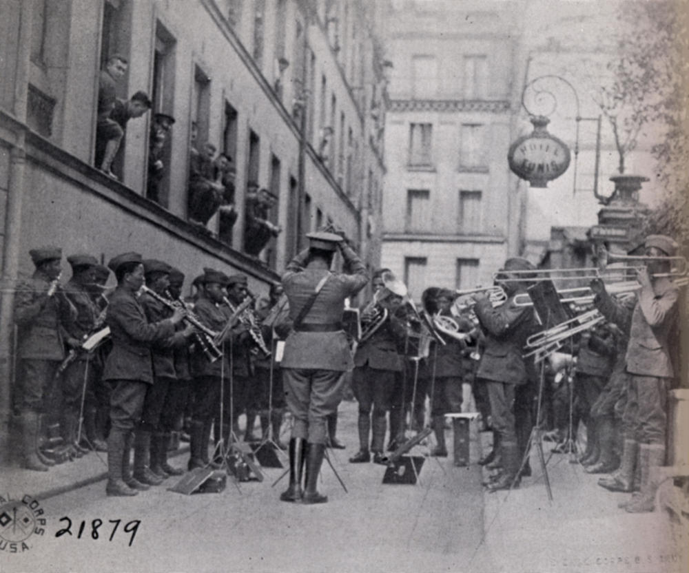 Soldier-musicians of the 369th Infantry Regimental Band perform fpr troops in France in an undated Army Signal Corps photo. The 369th Regimental Band is credited with introducing jazz to Europe during their performances.