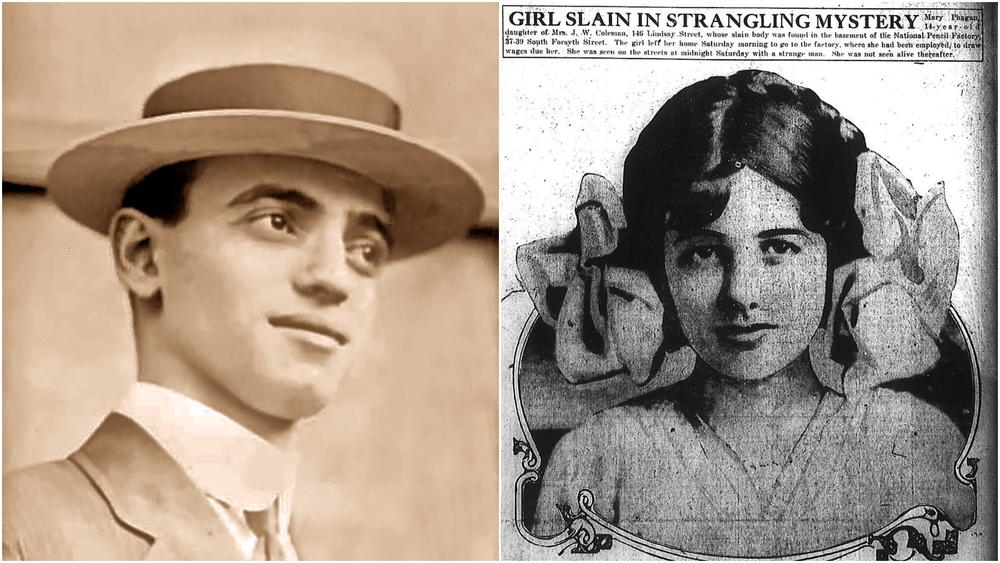 Leo Frank (left), a Jewish man from New York City, was convicted of the rape and murder of Mary Phagan (right) in 1915. Although his sentence was later commuted, Frank was lynched by a mob in Marietta shortly afterwards.