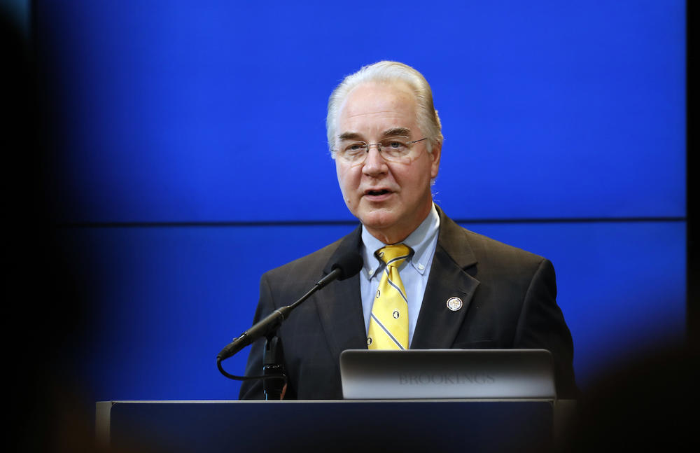 House Budget Committee Chairman Tom Price, R-Ga., President-elect Donald Trump's choice for Health and Human Services Secretary, speaks at the Brookings Institution Wednesday, Nov. 30, 2016 in Washington.