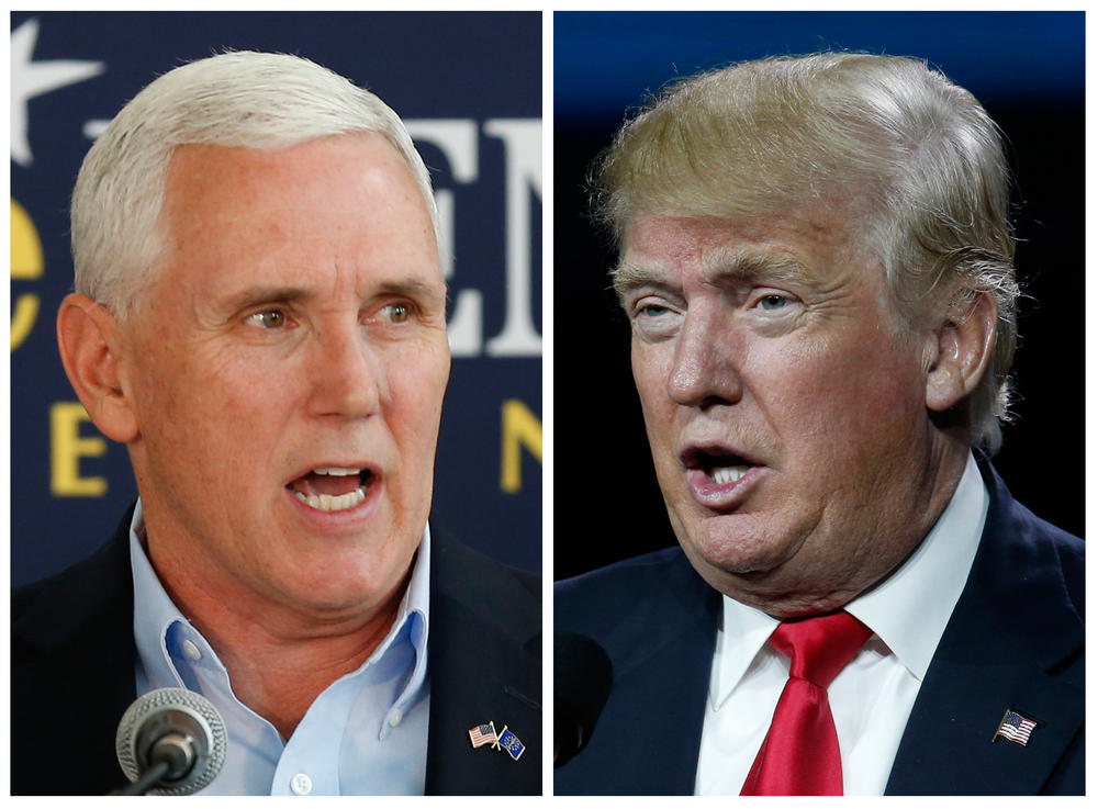 Indiana Gov. Mike Pence (left) is Donald Trump's vice presidential running mate.