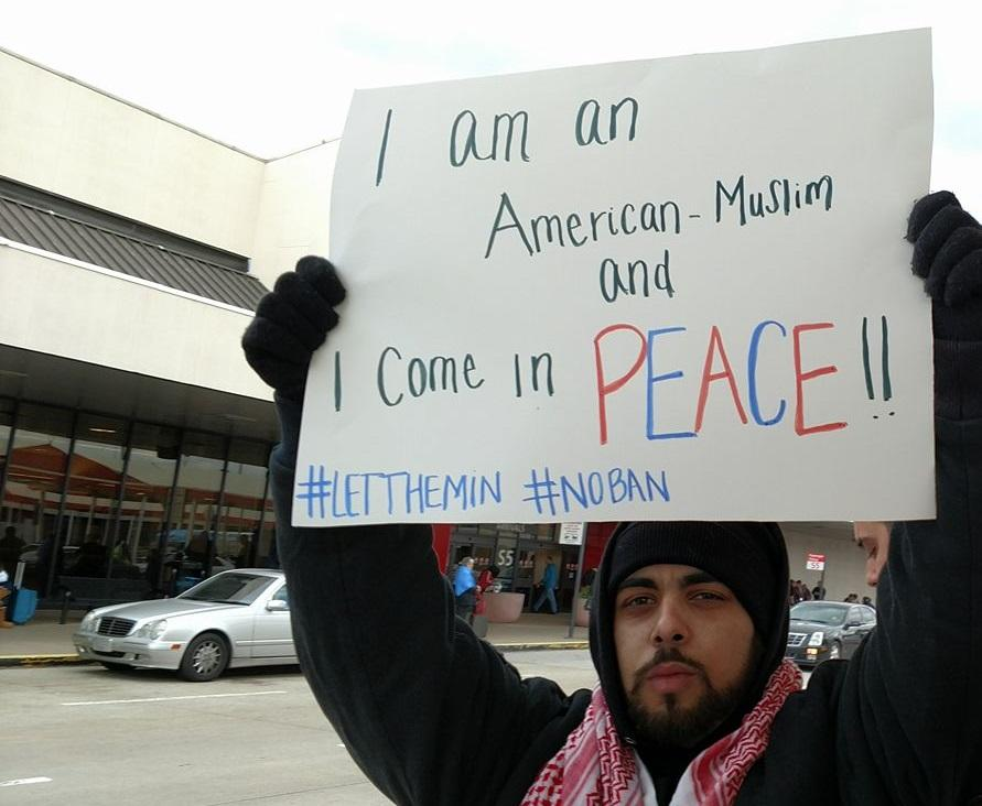 Sam Aljundi, 25, of Atlanta joined demonstrators on Sunday, Jan. 30, 2017 at Hartsfield-Jackson International Airport. They were protesting President Trump's executive orders concerning immigrants and refugees.