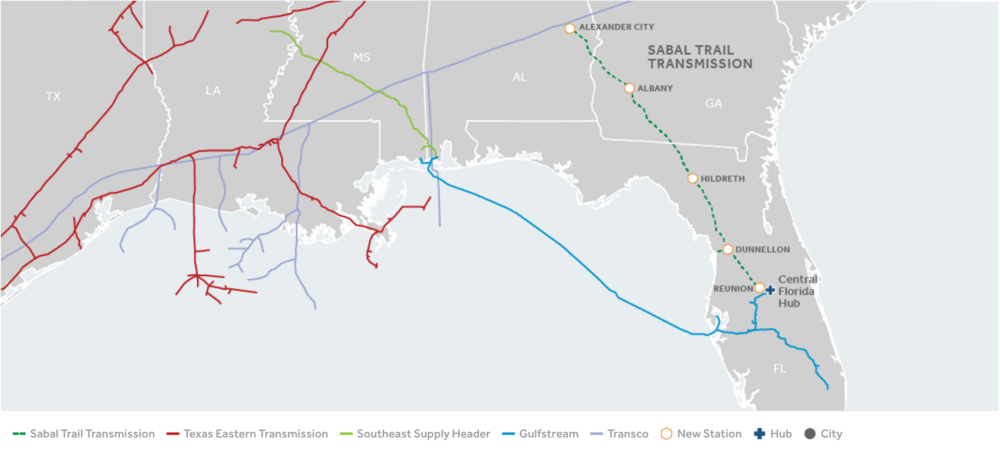 The path the Sabal Trail pipeline will trace though southwest Georgia as it makes makes its way from Alabama to deliver gas to customers in Florida.