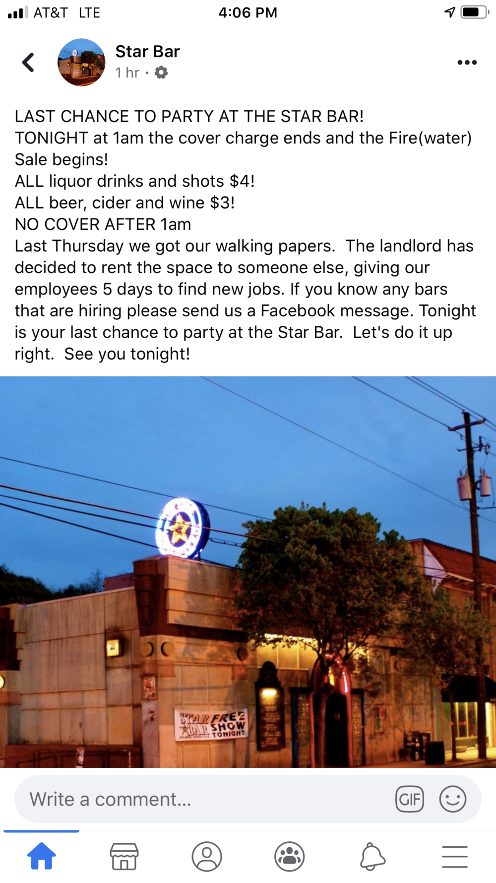 A screenshot of the now-deleted Facebook post announcing Star Bar's closing New Year's Eve. Owner Kahle Davis has not responded to requests for comment.