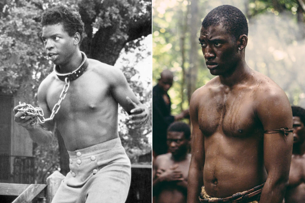 LeVar Burton (left) as Kunta Kinte in the 1977 version of Roots, and Malachi Kirby (right) in the same role in the 2016 remake.