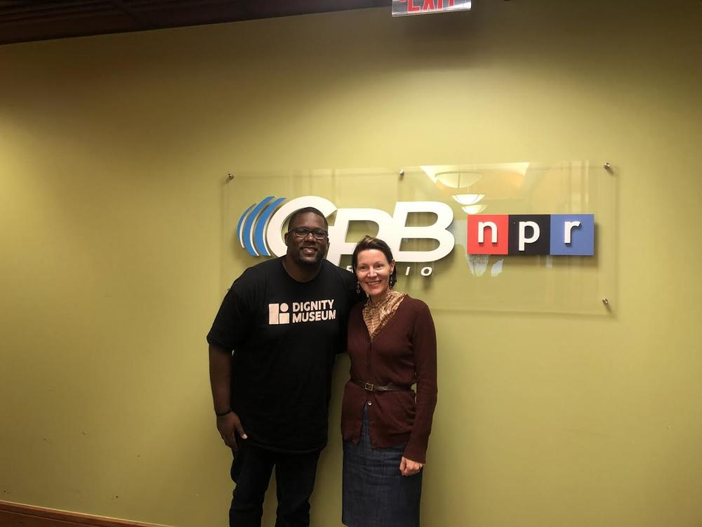 "Love Beyond Walls founder Terrence Lester pictured with ""On Second Thought"" host Virginia Prescott."