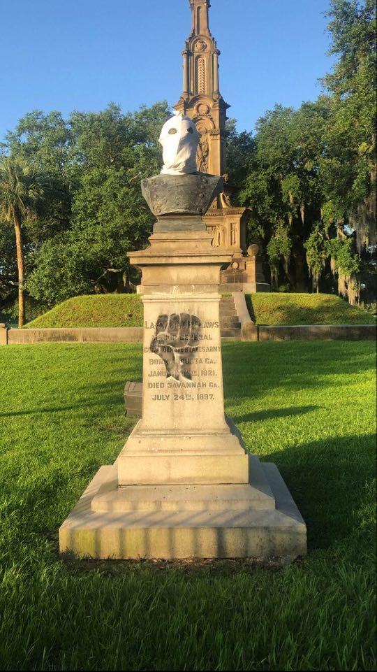 A bust of Confederate officer Lafayette McLaws at the foot of the Confederate monument in Savannah's Forsyth Park was vandalized in June with a white KKK-style hood and graffiti of a raised fist.