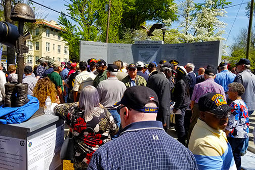Hundreds gathered in Augusta for the dedication of the city's first permanent memorial for Vietnam War veterans.