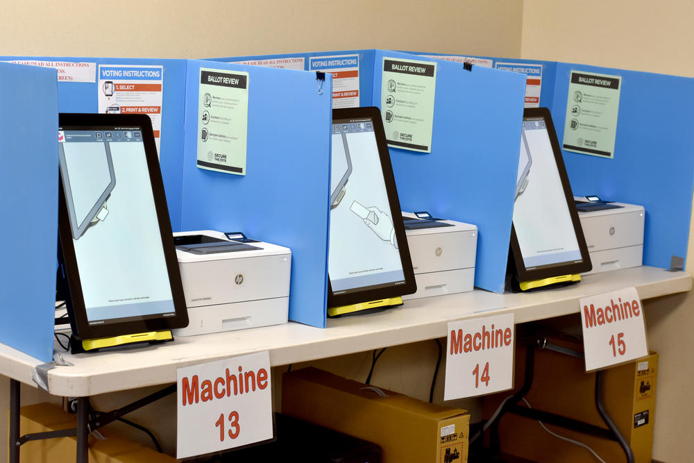New ballot-marking devices sit at a Paulding County precinct on Election Day.
