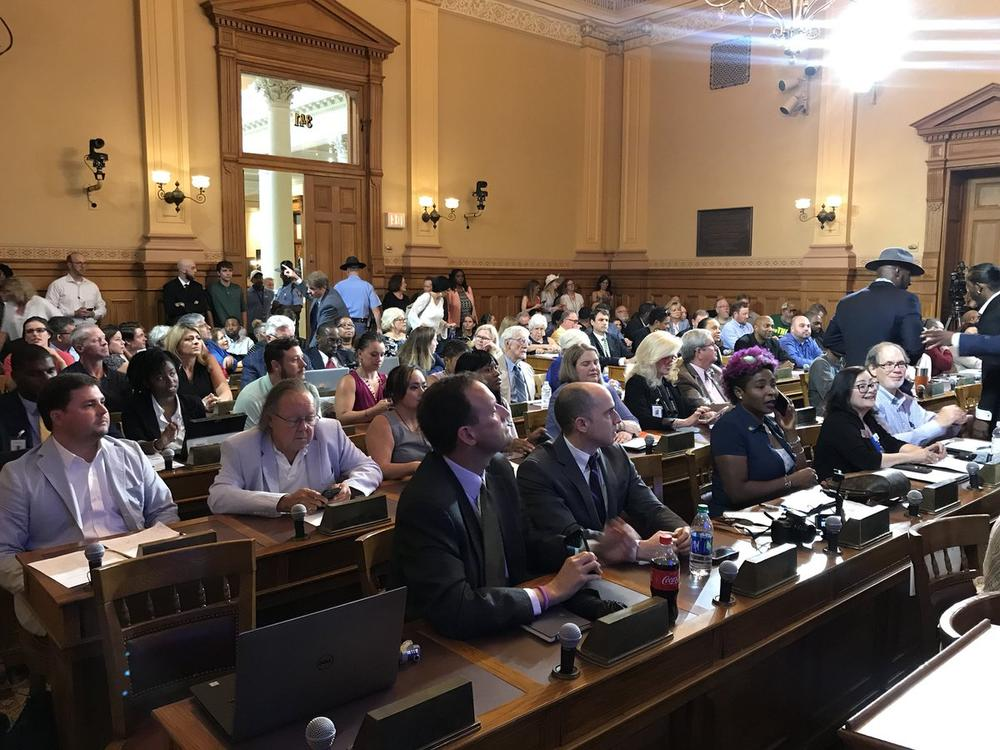 Dozens of people attend the first meeting on access to low THC oil in Georgia's State Capitol