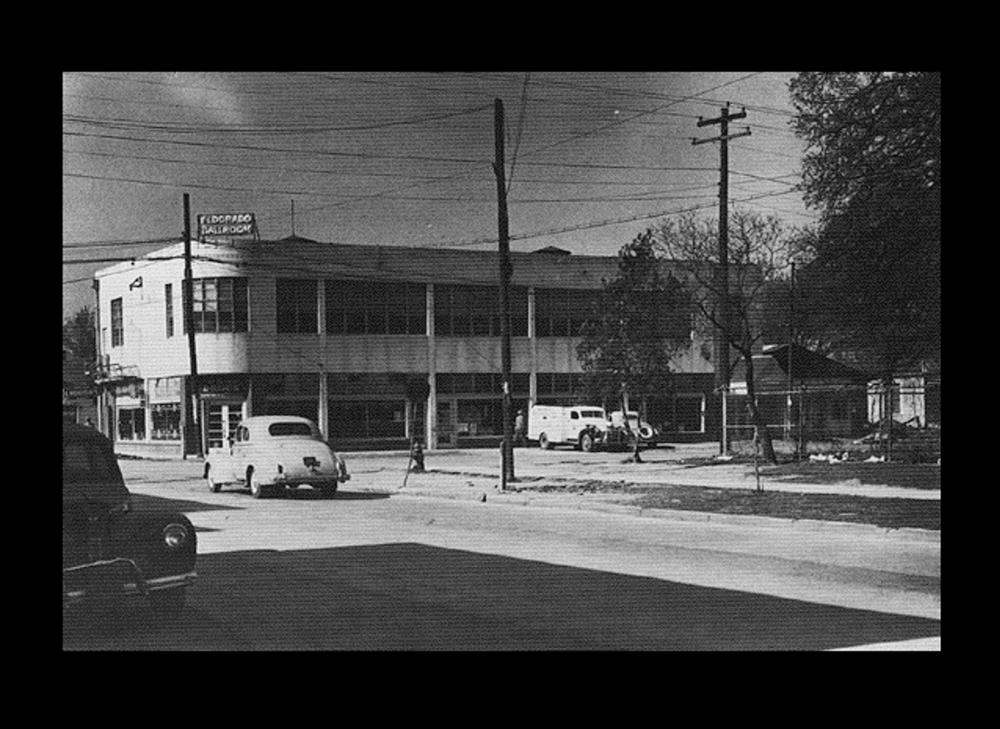 The Eldorado Ballroom, 1939, at the corner of Elgin and Dowling Street (now Emancipation Avenue). Image shared with Project Row Houses by a Third Ward resident and made available online in accordance with Title 17 U.S.C. Section 107.
