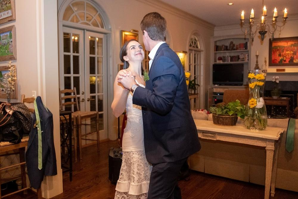 The parents of the groom, Kathryn and Charles Brown, held the wedding reception at their house.