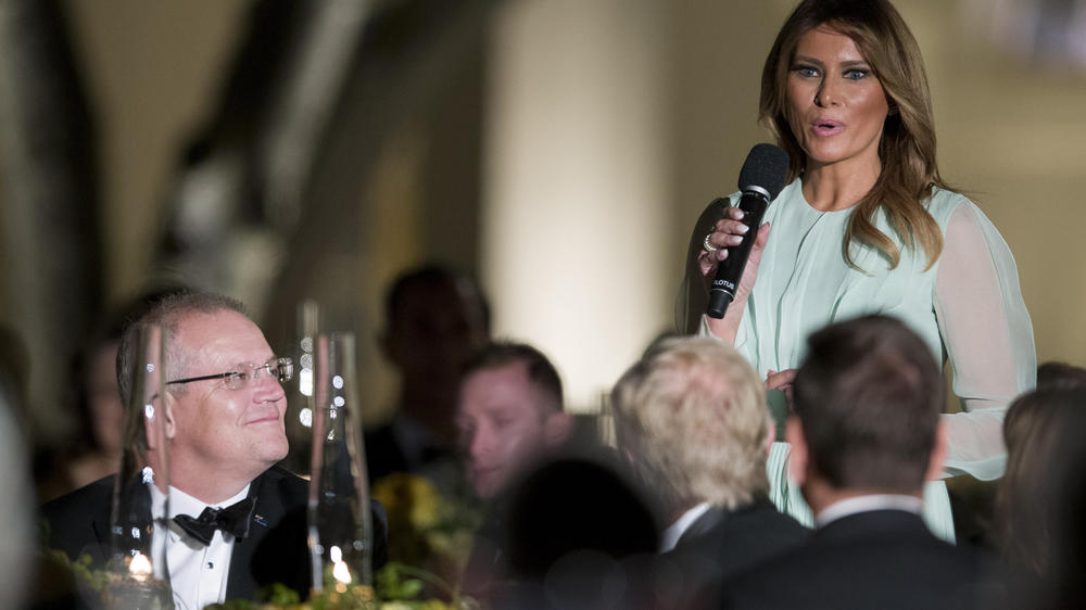 First Lady Melania Trump speaks as Australian Prime Minister Scott Morrison listens during a state dinner in the Rose Garden on Sept. 20, 2019.