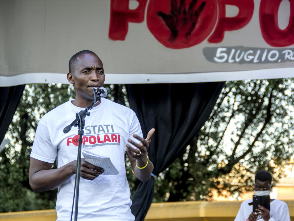 Aboubakar Soumahoro speaks at a protest in Rome last month.
