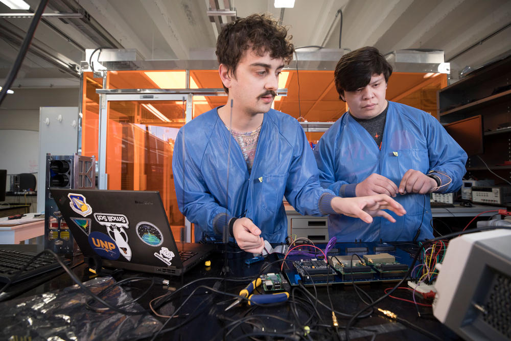 Caleb Adams (left) and Graham Gable are two of the founders of UGA's Small Satellite Research Lab.