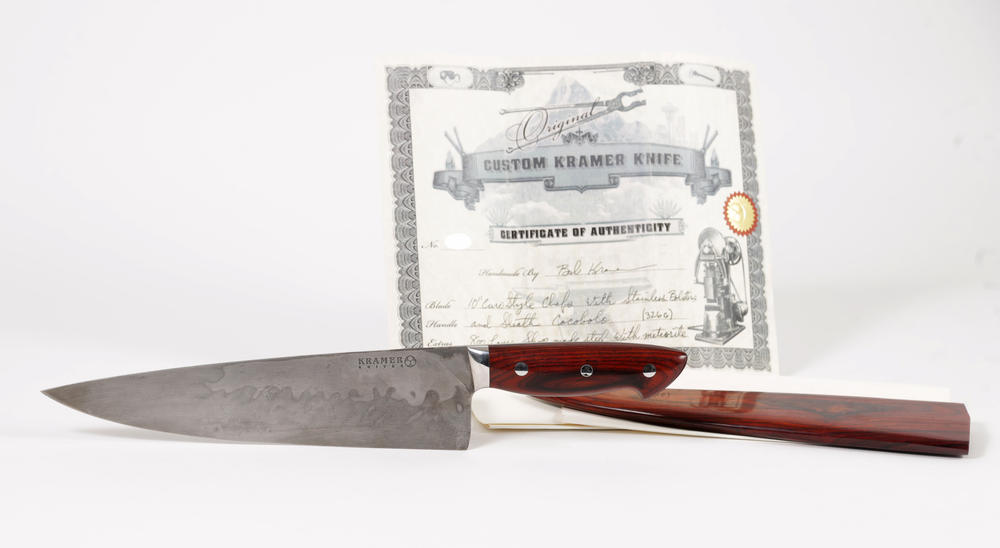 One of the most popular items up for auction is one of Anthony Bourdain's favorite knives. It is a custom Bob Kramer steel and meteorite chef's knife.