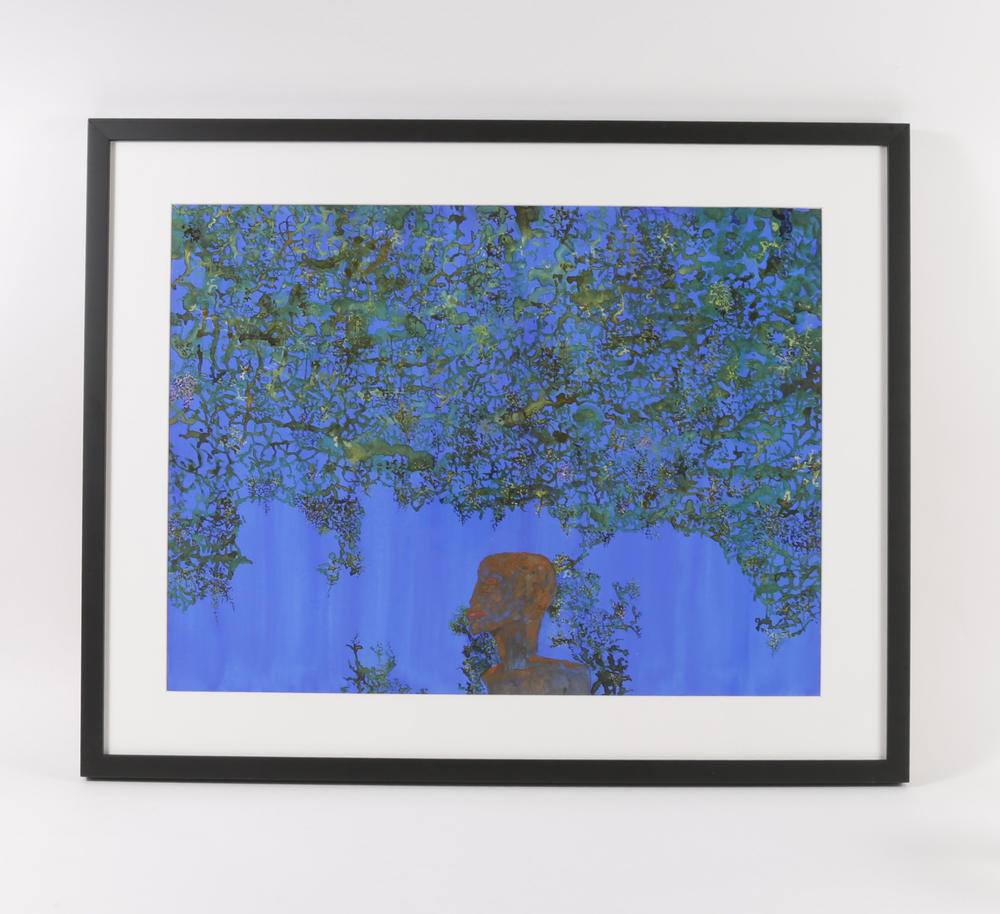 """Bourdain had also collected a few watercolors by American artist John Lurie, like this one, called """"The Sky is Falling, I am Learning to Live with It."""""""