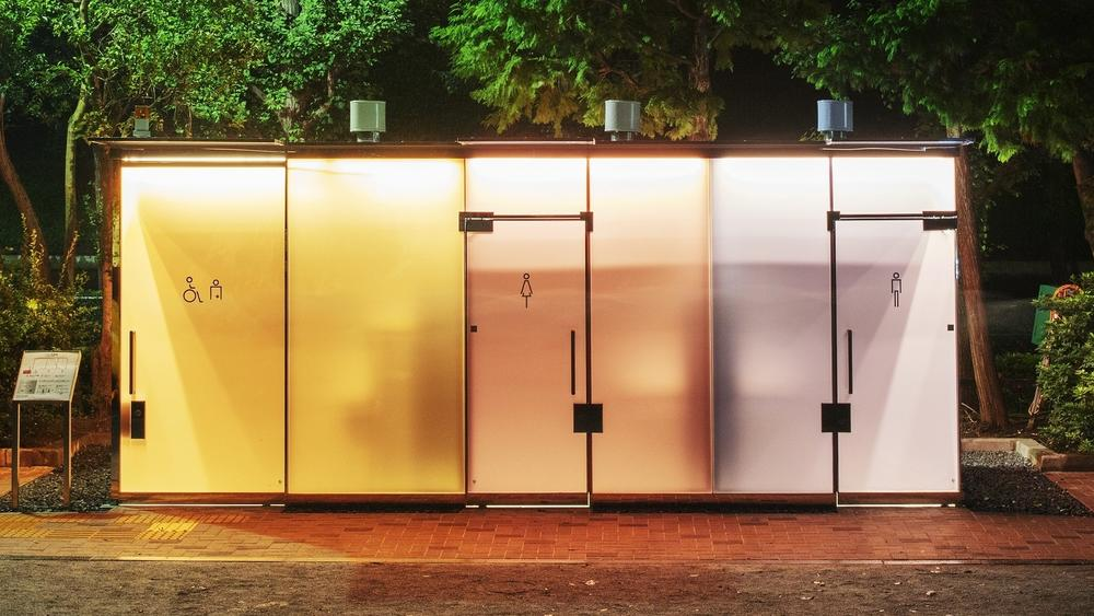 The glass walls of Ban's new public bathrooms turn opaque when people enter and lock the door.