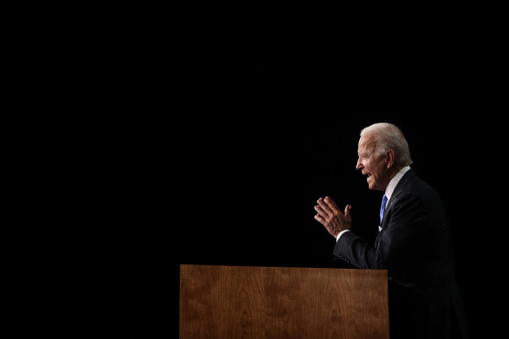 Democratic presidential nominee Joe Biden delivers his acceptance speech on the fourth night of the Democratic National Convention from the Chase Center in Wilmington, Del.