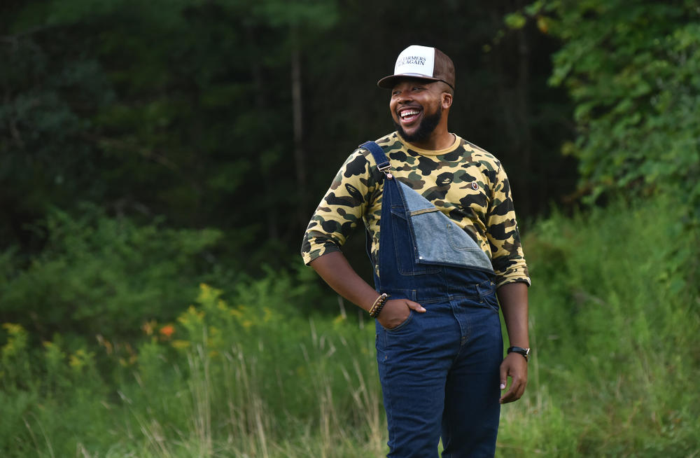 Jarrad Nwameme, 32, is another one of Minton's grandsons who coordinates logistics for Triple J Farm, delivering eggs to customers in New York City and running social media.