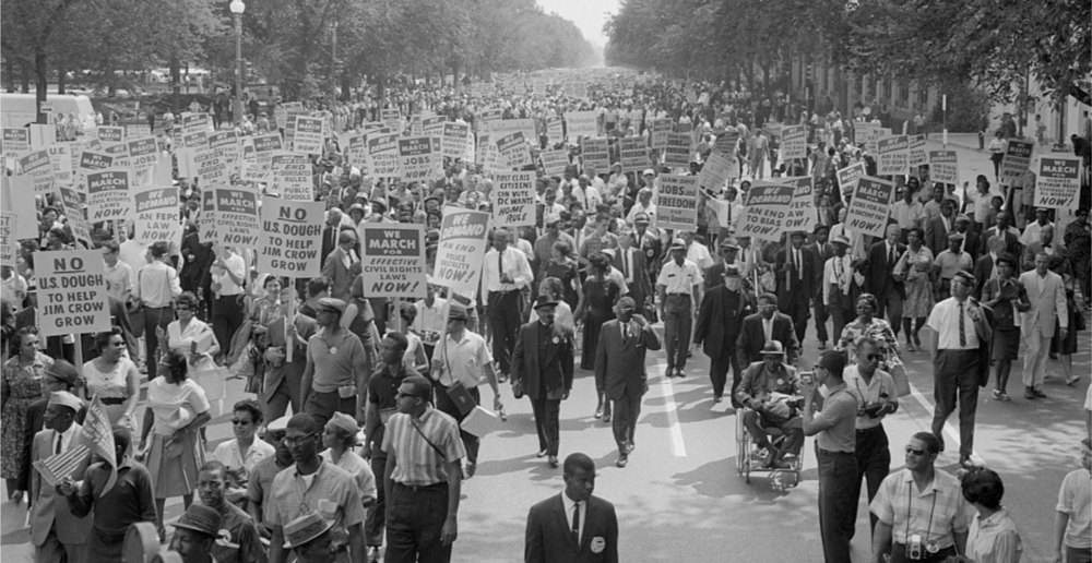 A scene from the original March on Washington, where Rev. Martin Luther King Jr., delivered his iconic