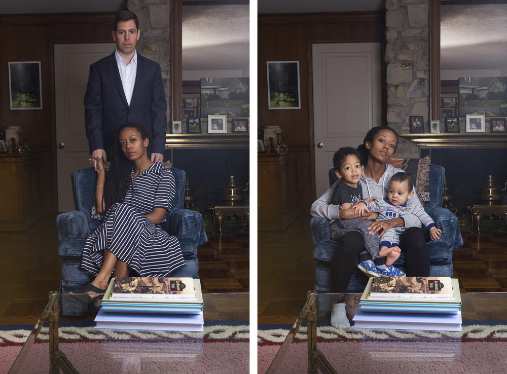 From photographer Janna Ireland's project <em>Milk and Honey</em>: (Left) Portrait of Ireland and her husband.(Right) Portrait of Ireland and her two sons.