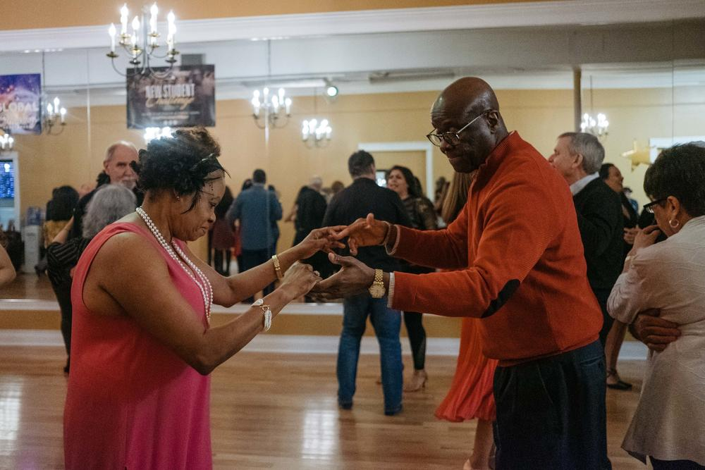 Raymonde and Marc Elian attend a dance class party for students of the Arthur Murray Dance Studio in February 2019. In March 2020 classes were postponed because of the pandemic.