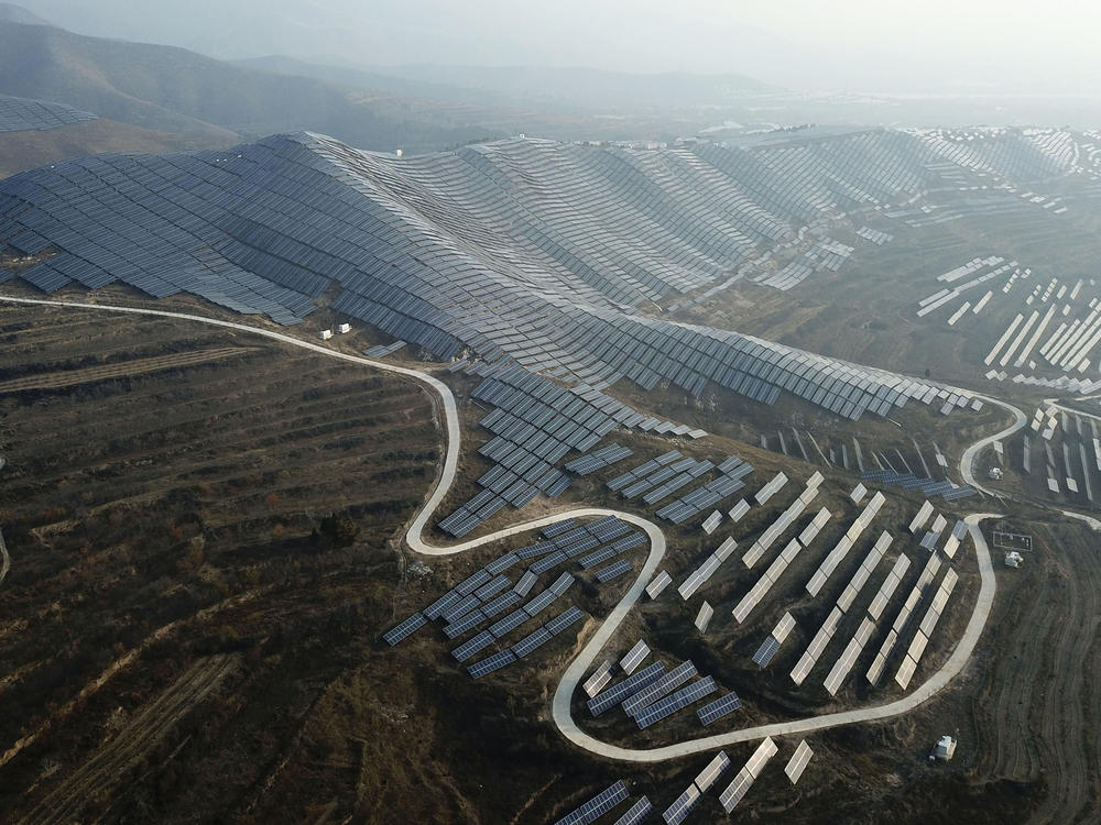 Solar panels in 2019 in China's Shanxi province. China's government announced this month that China will reach peak emissions by 2030 and net-zero emissions by 2060.